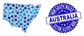 Blue New South Wales Map Collage Of Stars, And Distress Round Stamp. Abstract Territory Plan In Blue poster
