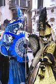 Carnival In Venice. Two Women In Venetian Carnival Dresses. poster
