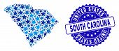 Blue South Carolina State Map Composition Of Stars, And Distress Rounded Stamp Seal. Abstract Territ poster