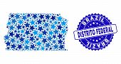 Blue Brazil Distrito Federal Map Collage Of Stars, And Textured Rounded Stamp. Abstract Territorial  poster