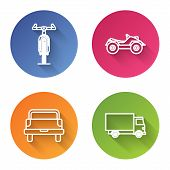 Set Line Bicycle, All Terrain Vehicle Or Atv Motorcycle, Pickup Truck And Delivery Cargo Truck Vehic poster