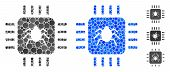 Hardware Bug Mosaic Of Round Dots In Variable Sizes And Shades, Based On Hardware Bug Icon. Vector R poster