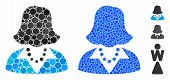Lady Composition Of Round Dots In Different Sizes And Color Tints, Based On Lady Icon. Vector Dots A poster