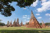Pagoda At Wat Chaiwatthanaram Temple,one Of The Famous Temple In Ayutthaya,temple In Ayutthaya Histo poster