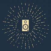 Beige Stereo Speaker Icon Isolated On Blue Background. Sound System Speakers. Music Icon. Musical Co poster