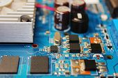 Closeup Of Electronic Circuit Board Or Pcb Printed Circuit Board poster