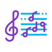 Treble Clef And Musical Notes Opera Element Vector Icon Thin Line. Singers And Headphones, Concert,  poster