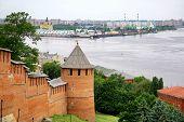 Постер, плакат: Нижегородский Кремль и порт стрелка