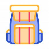 Backpack Knapsack Alpinism Equipment Vector Icon Thin Line. Compass, Mountain Direction And Burner M poster