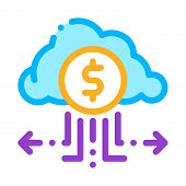 Charge Money Through Cloud Storage Icon Vector. Outline Charge Money Through Cloud Storage Sign. Iso poster