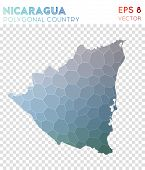 Nicaragua Polygonal, Mosaic Style Country Map. Unequaled Low Poly Style, Modern Design For Infograph poster
