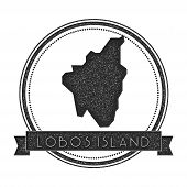 Lobos Island Map Stamp. Retro Distressed Insignia. Hipster Round Badge With Text Banner. Island Vect poster