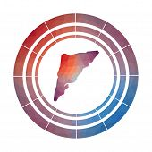 Salt Cay, Turks Islands Badge. Bright Gradient Logo Of Island In Low Poly Style. Multicolored Salt C poster