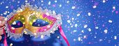 Mardi Gras Carnival Masquerade Mask On Blue Background With Confetti, Copy Space. New Orleans Carniv poster