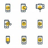 Vector Illustration Of 9 Telephone Icons Line Style. Editable Set Of Play, Selfie Stick, Telephone A poster