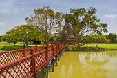 Wooden Bridge, Wat Sa Si Or Sra Sri Temple, Sukhothai Historical Park, Unesco World Heritage Site, T poster