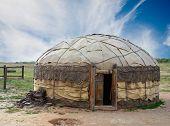 foto of yurt  - Traditional mongolian yurt made of animal skins - JPG