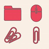 Set Paper Clip, Document Folder, Computer Mouse And Paper Clip Icon. Vector poster