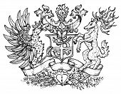 Heraldic Emblem With Fairy Rooster Bird And Deer With Big Horns. Hand Drawn Engraved Illustration Wi poster