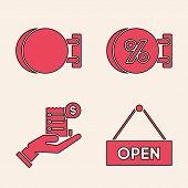 Set Hanging Sign With Text Open Door, Signboard Hanging, Signboard Hanging With An Inscription Disco poster