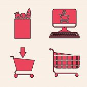 Set Shopping Cart, Paper Shopping Bag And Food, Shopping Cart On Screen Computer And Add To Shopping poster