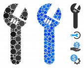 Spanner Mosaic Of Filled Circles In Various Sizes And Color Hues, Based On Spanner Icon. Vector Fill poster