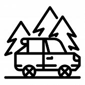 Forest Mountain Car Trip Icon. Outline Forest Mountain Car Trip Vector Icon For Web Design Isolated  poster