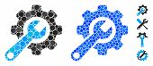 Tools Mosaic Of Round Dots In Different Sizes And Color Tints, Based On Tools Icon. Vector Round Dot poster