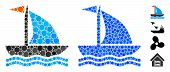 Boat Mosaic Of Small Circles In Various Sizes And Color Tints, Based On Boat Icon. Vector Small Circ poster