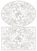 Set Of Contour Illustrations Of Stained Glass Windows With Roses  And Butterflies , Oval And Rectang poster