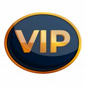 Oval Inscription Vip Icon. Cartoon Of Oval Inscription Vip Vector Icon For Web Design Isolated On Wh poster