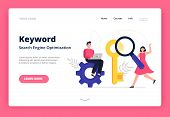 Landing Page Template On Search Engine Optimization Theme. Web Developers With Magnifying Glass Sear poster