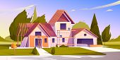 Unfinished House Construction. Vector Cartoon Illustration Of Construction Site, Incomplete Building poster