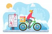 Cycle Winter Extreme Delivery Flat Vector Illustration. Courier On Bicycle Cartoon Character. Ecolog poster