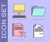 Set File Document And Paper Clip, Computer Monitor With Keyboard, Delete File Document And Document  poster