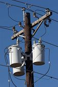 pic of utility pole  - transformers on utility pole