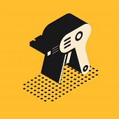 Isometric Electric Hot Glue Gun Icon Isolated On Yellow Background. Hot Pistol Glue. Hot Repair Work poster