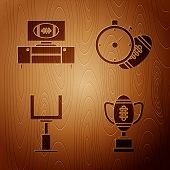 Set Award Cup And American Football Ball, American Football On Tv Program And Stand, American Footba poster