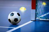 Football Futsal Ball Goal And Floor. Indoor Soccer Sports Hall. Sport Futsal Background. Indoor Socc poster