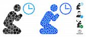 Pray Time Composition Of Round Dots In Various Sizes And Color Hues, Based On Pray Time Icon. Vector poster