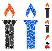 Fire Torch Mosaic Of Small Circles In Different Sizes And Shades, Based On Fire Torch Icon. Vector S poster