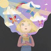Girl Dreaming, Reading Fairytale.fantasy Portrait. Baby Illustration. Art Portrait. Fantasy Literatu poster