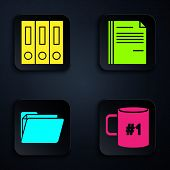 Set Coffee Cup Flat, Office Folders With Papers And Documents, Document Folder And File Document. Bl poster