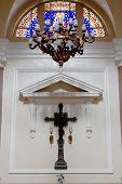 picture of crucifiction  - Interior of a catholic church at Porto Alegre - JPG