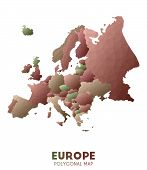 Europe Map. Actual Low Poly Style Continent Map. Immaculate Vector Illustration. poster