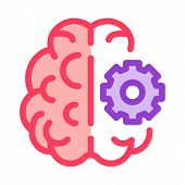 Brain And Mechanism Gear Icon Vector. Outline Brain And Mechanism Gear Sign. Isolated Contour Symbol poster