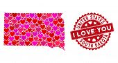Love Collage South Dakota State Map And Grunge Stamp Seal With I Love You Phrase. South Dakota State poster