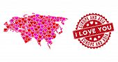 Love Collage Europe And Asia Map And Distressed Stamp Seal With I Love You Caption. Europe And Asia  poster