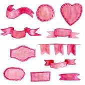 Set Of Elegant Tender Magenta Watercolor Banners, Isolated On White Background. Ribbons, Flags, Stic poster