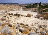 stock photo of cardo  - The oval Forum in Jerash Jordan - JPG